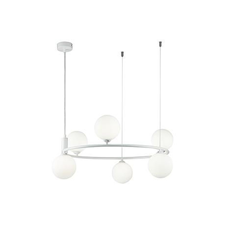 Подвесной светильник - обруч с шарами на тросах (цвет белый)