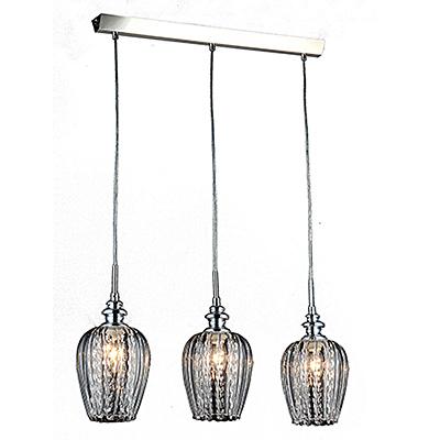 Тройной подвесной светильник из прозрачного стекла (никель)