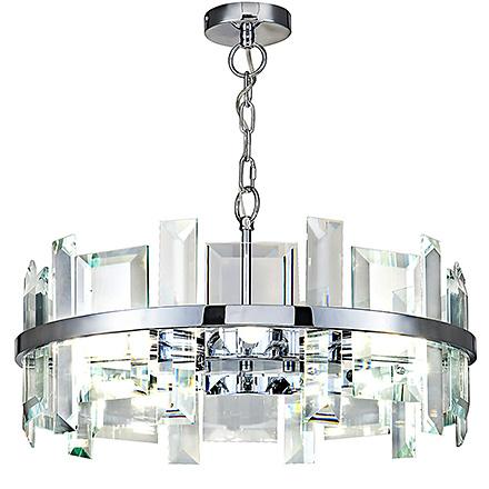 Круглая подвесная люстра с большими гранеными стеклами (хром)