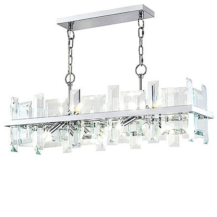 Подвесная люстра со вставками из большого граненого стекла (хром)