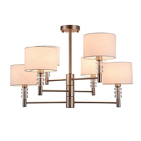 Modern Lincoln 6: Современная люстра на 6 ламп с белыми овальными абажурами (никель)
