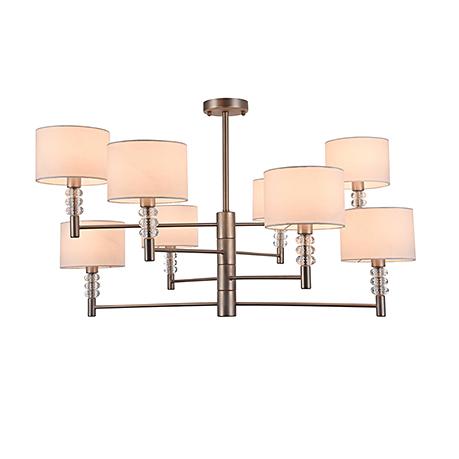 Современная люстра на 8 ламп с белыми овальными абажурами (никель)