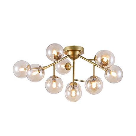 Потолочная люстра с шарами плафонами на трубках (золото)