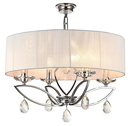 Подвесная люстра на 4 лампы в абажуре из белых нитей (хром)