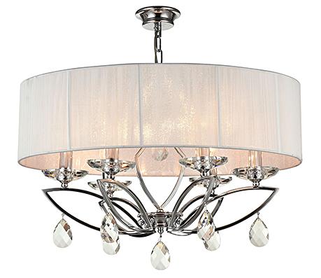Подвесная люстра на 6 ламп в абажуре из белых нитей (хром)