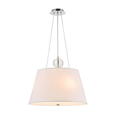 Подвесной белый абажур со стеклом внизу (хром)