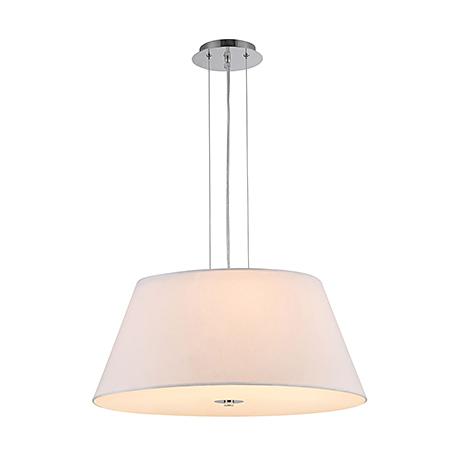 Современный подвесной белый абажур на 3 лампы (хром)