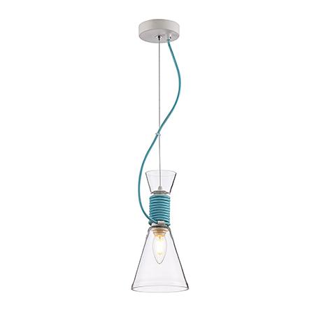 Светильник из прозрачного стекла с голубым шнуром
