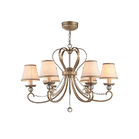 Классическая люстра с короной и абажурами на 8 ламп (золото и лен)