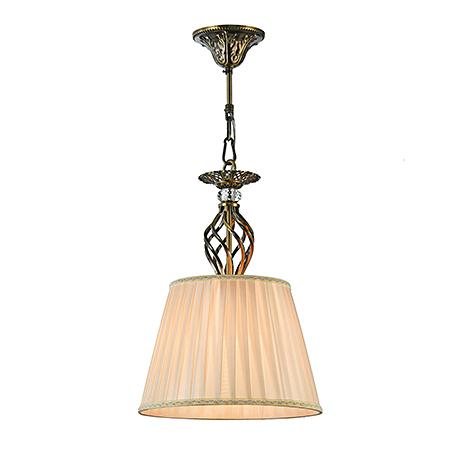 Подвесной светильник с колонной корзинкой и бежевым абажуром (бронза)