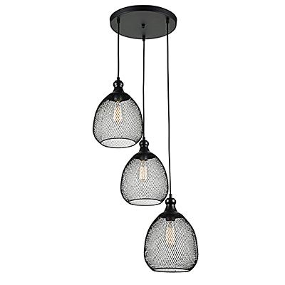 Тройной подвесной светильник из сетки в стиле лофт (цвет черный)