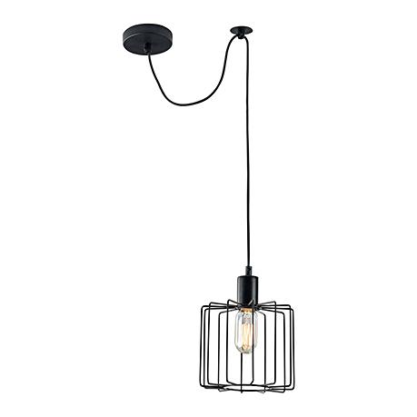 Подвесной светильник-лампа с решеткой цилиндром (цвет черный)