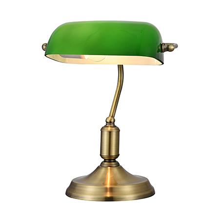 Настольная лампа Банкир с зеленым плафоном